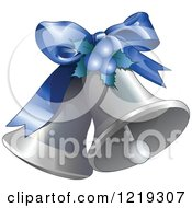 Clipart Of Silver Christmas Bells With A Blue Bow Royalty Free Vector Illustration