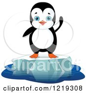 Clipart Of A Cute Penguin Waving On Floating Ice Royalty Free Vector Illustration