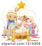 Clipart Of A Star Shining On Baby Jesus Surrounded By Mary Joseph And Cute Animals Royalty Free Vector Illustration
