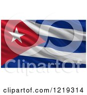 Clipart Of A 3d Waving Flag Of Cuba With Rippled Fabric Royalty Free Illustration