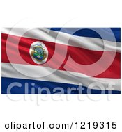 Clipart Of A 3d Waving Flag Of Costa Rica With Rippled Fabric Royalty Free Illustration