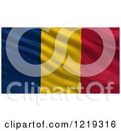 Clipart Of A 3d Waving Flag Of Chad With Rippled Fabric Royalty Free Illustration