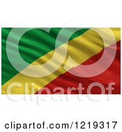 Clipart Of A 3d Waving Flag Of The Republic Of The Congo With Rippled Fabric Royalty Free Illustration