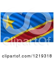 Clipart Of A 3d Waving Flag Of The Democratic Republic Of The Congo With Rippled Fabric Royalty Free Illustration