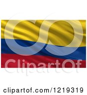 Clipart Of A 3d Waving Flag Of Colombia With Rippled Fabric Royalty Free Illustration
