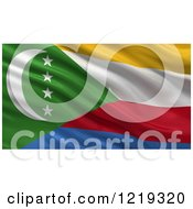 Clipart Of A 3d Waving Flag Of Comoros With Rippled Fabric Royalty Free Illustration