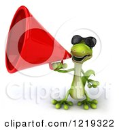 Clipart Of A 3d Gecko Using A Megaphone 3 Royalty Free Illustration