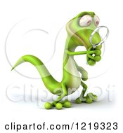 Clipart Of A 3d Gecko Using A Magnifying Glass 4 Royalty Free Illustration