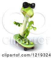 Clipart Of A 3d Green Gecko Wearing Sunglasses Adn Skateboarding Royalty Free Illustration
