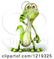 Clipart Of A 3d Gecko Using A Magnifying Glass 3 Royalty Free Illustration