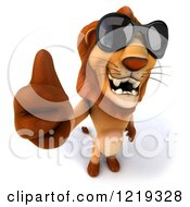 Clipart Of A 3d Lion Wearing Sunglasses And Holding A Thumb Up Royalty Free Illustration