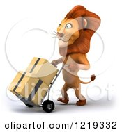 Clipart Of A 3d Lion Moving Boxes On A Dolly Royalty Free Illustration
