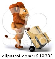 Clipart Of A 3d Lion Moving Boxes On A Dolly 2 Royalty Free Illustration