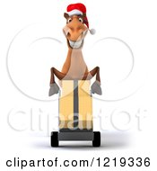 Clipart Of A 3d Brown Christmas Horse Moving Boxes On A Dolly Royalty Free Illustration