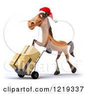 Clipart Of A 3d Brown Christmas Horse Moving Boxes On A Dolly 2 Royalty Free Illustration