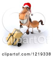 Clipart Of A 3d Brown Christmas Horse Moving Boxes On A Dolly 3 Royalty Free Illustration