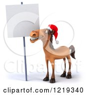 Clipart Of A 3d Brown Christmas Horse Smiling Under A Sign Royalty Free Illustration