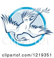 Clipart Of A Retro Heron Diving Over A Blue Sunny Circle Royalty Free Vector Illustration