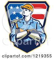 Clipart Of A Retro Carpenter Worker With Folded Arms Over An American Shield Royalty Free Vector Illustration