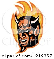 Clipart Of A Devil Face In Flames Royalty Free Vector Illustration by patrimonio