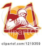 Clipart Of A Gridiron Receiver American Football Player Scoring A Touchdown Over An Orange Circle Royalty Free Vector Illustration