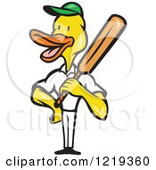 Clipart Of A Cartoon Duck Cricket Player Batsman Royalty Free Vector Illustration by patrimonio