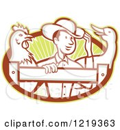 Clipart Of A Retro Cartoon Farmer With A Goose And Rooster At A Fence Over Rays Royalty Free Vector Illustration