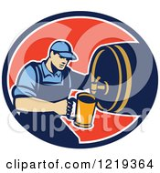 Clipart Of A Retro Bartender Pouring A Beer From A Keg In An Oval Royalty Free Vector Illustration