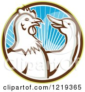 Clipart Of A Retro Rooster And Goose In A Circle Of Blue Sunshine Royalty Free Vector Illustration by patrimonio