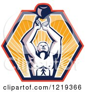 Clipart Of A Retro Crossfit Bodybuilder Lifting A Kettlebell In A Sunny Hexagon Royalty Free Vector Illustration