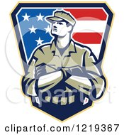 Clipart Of An American Solider With Folded Arms Over An American Flag Shield Royalty Free Vector Illustration