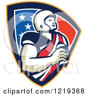 Clipart Of A Gridiron American Football Player Holding A Ball In An American Shield Royalty Free Vector Illustration