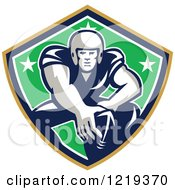 Clipart Of A Gridiron American Football Player With His Hand On A Ball In A Star Shield Royalty Free Vector Illustration