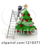 Clipart Of A 3d Robot On A Ladder Putting A Star On A Christmas Tree Royalty Free Illustration