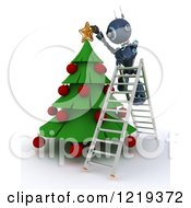 Clipart Of A 3d Blue Android Robot On A Ladder Putting A Star On A Christmas Tree Royalty Free Illustration