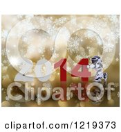 Clipart Of A 3d Robot Pushing New Year 2014 Together Over Golden Snowflakes And Bokeh Royalty Free Illustration