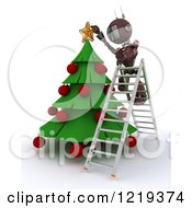 Clipart Of A 3d Red Android Robot On A Ladder Putting A Star On A Christmas Tree Royalty Free Illustration