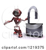 Clipart Of A 3d Red Android Robot With An Open Padlock Royalty Free Illustration