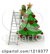 Clipart Of A 3d Tortoise On A Ladder Putting A Star On A Christmas Tree Royalty Free Illustration