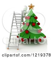 3d White Character On A Ladder Putting A Star On A Christmas Tree
