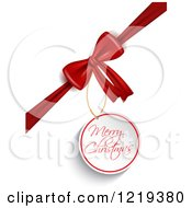 Clipart Of A Merry Christmas Tag On A Gift Bow Royalty Free Vector Illustration