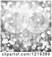 Clipart Of A Silver Christmas Background Of Flares And Bokeh Royalty Free Illustration