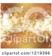 Clipart Of A Golden Christmas Background Of Stars Flares And Bokeh Royalty Free Illustration