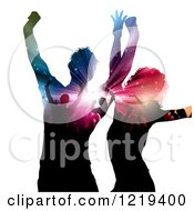 Clipart Of A Dancing Couple With Silhouetted People And Lights On Their Bodies Royalty Free Vector Illustration