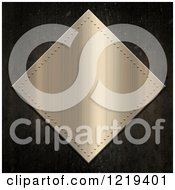Clipart Of A 3d Brushed Metal Diamond Plaque On Cement Royalty Free Illustration