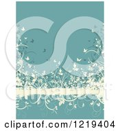 Clipart Of A Turquoise And Tan Floral Grunge Background With Butterflies Foliage Royalty Free Vector Illustration