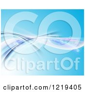 Clipart Of A Blue Background With Bokeh Flares And Flowing Waves Royalty Free Illustration