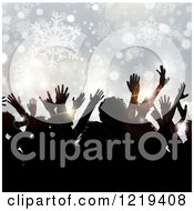 Clipart Of Silhouetted People Dancing Over Snowflakes And Bokeh At A Christmas Party Royalty Free Vector Illustration