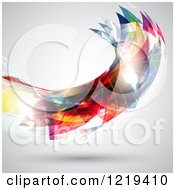 Clipart Of An Abstract Colorful Wave On Gray Royalty Free Vector Illustration
