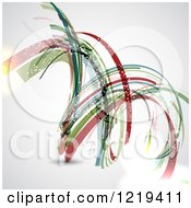 Clipart Of An Abstract Spiral Of Colorful Ribbons With A Flare On Gray Royalty Free Vector Illustration